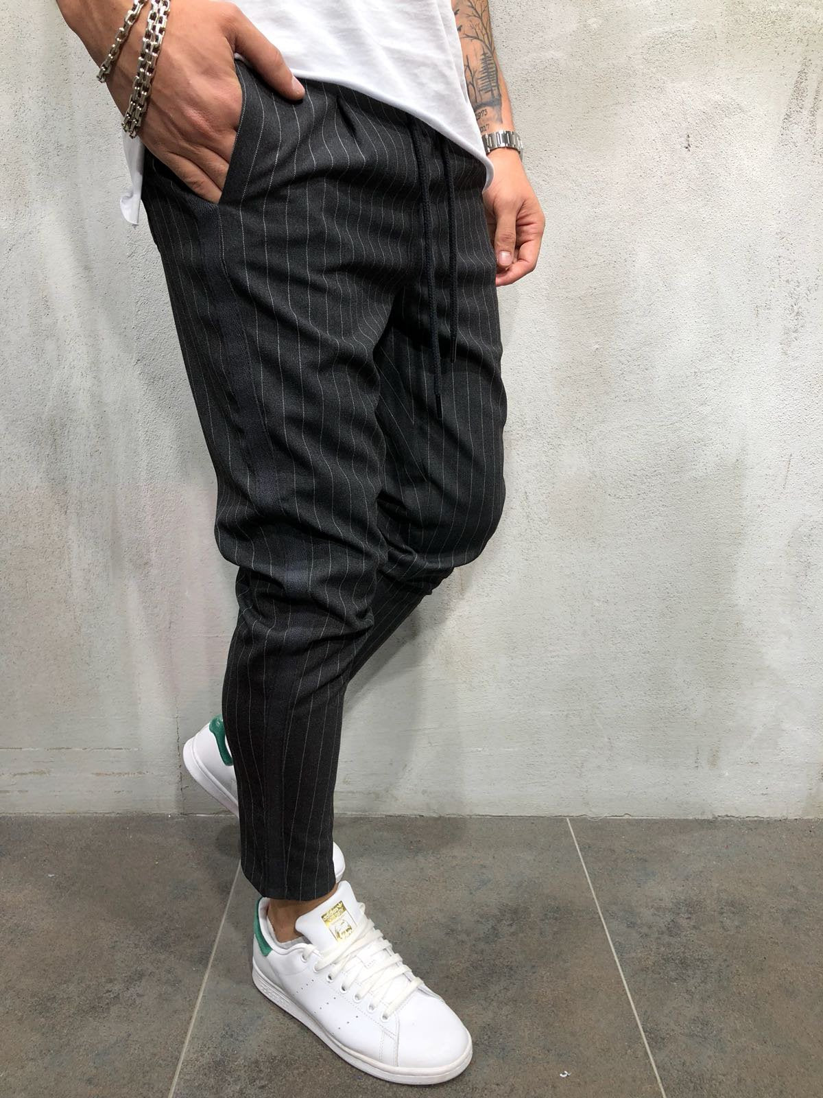 Ankle Pants Streetwear Striped 4387