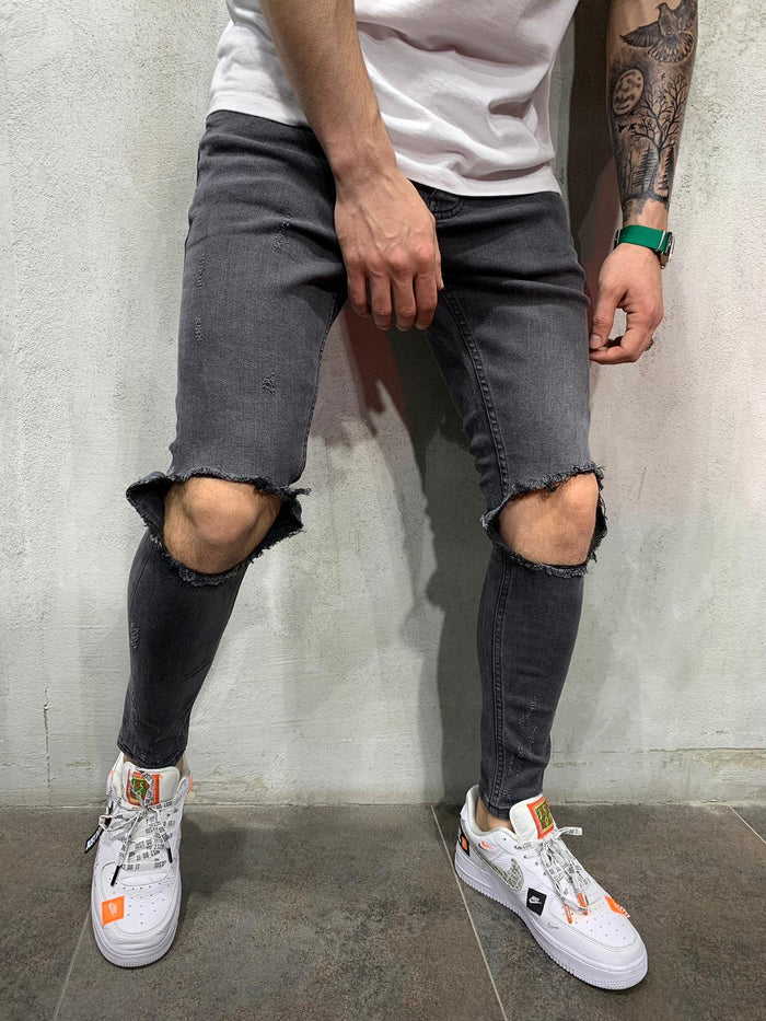 Washed Knee Out Jeans 4437