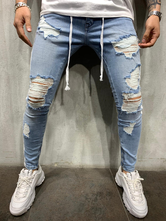 Distressed Jeans Side Stripes 4444