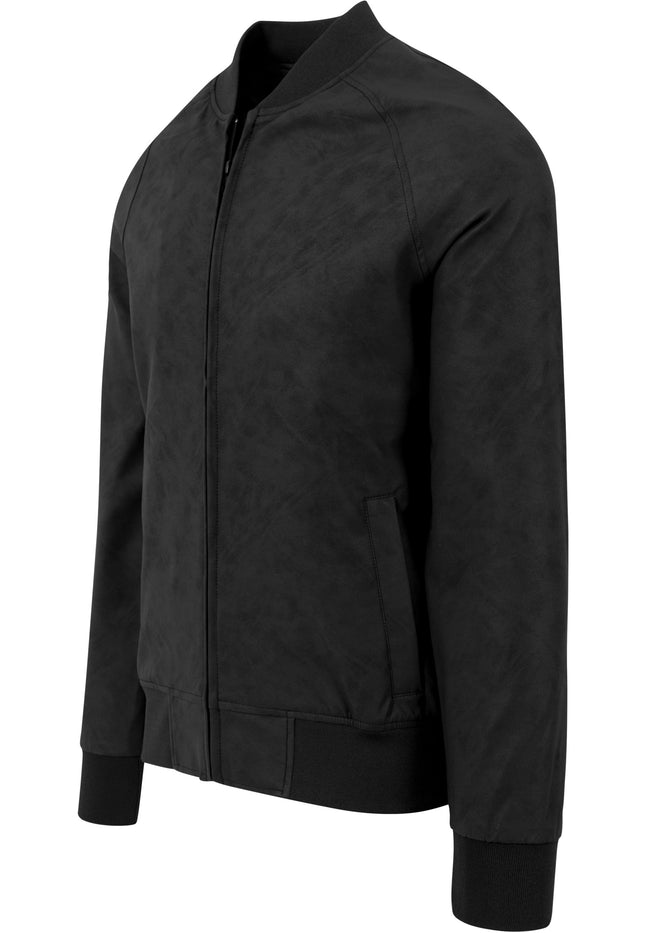 Imitation Leather Raglan Blouson black