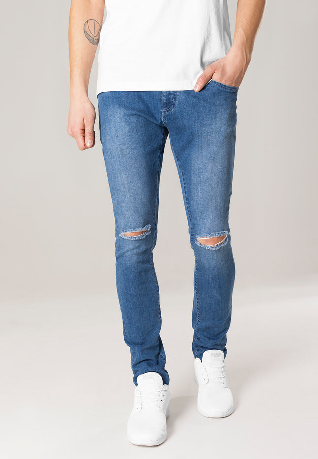 Slim Fit Knee Cut Denim Pants