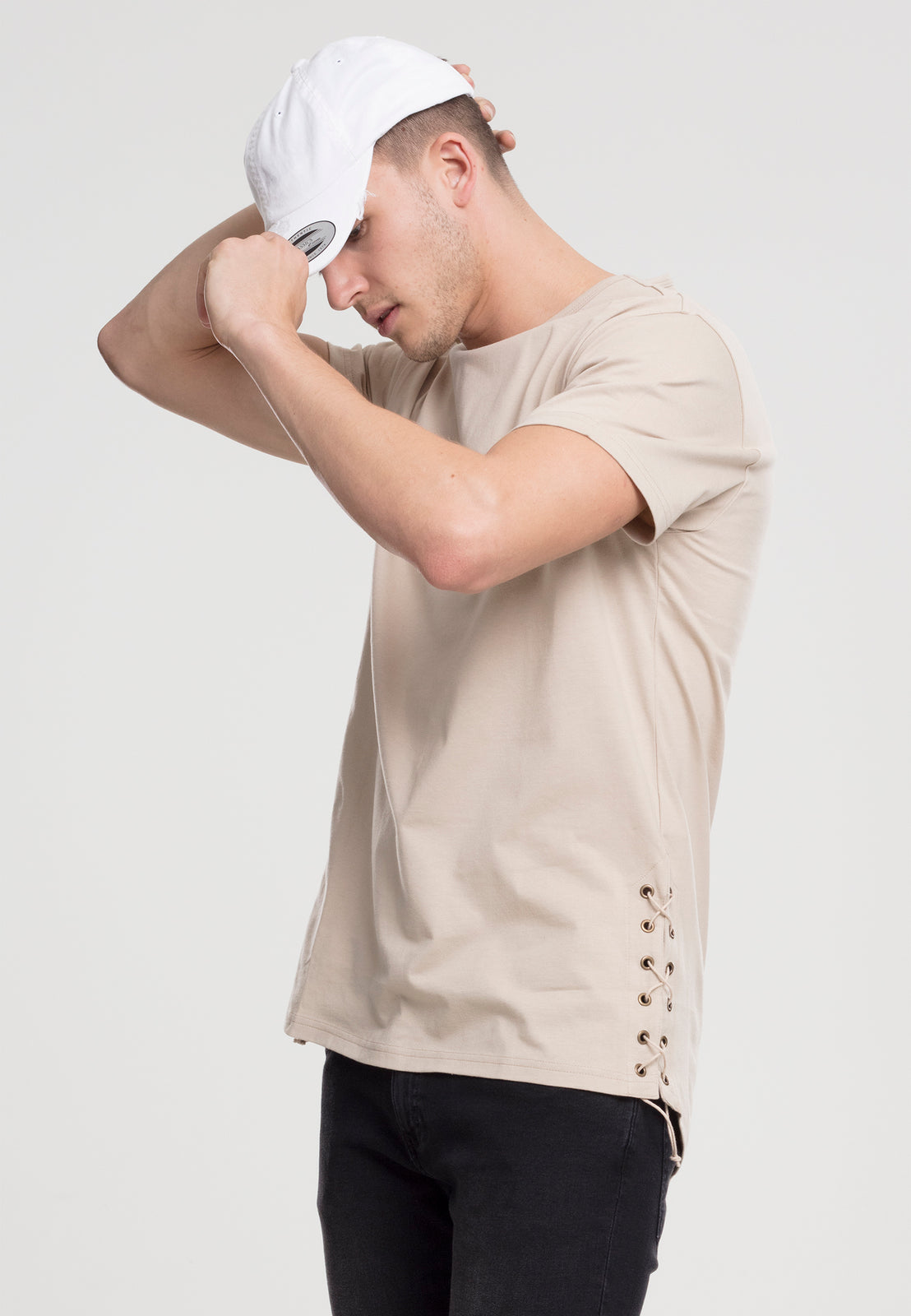 Lace Up Long Tee sand