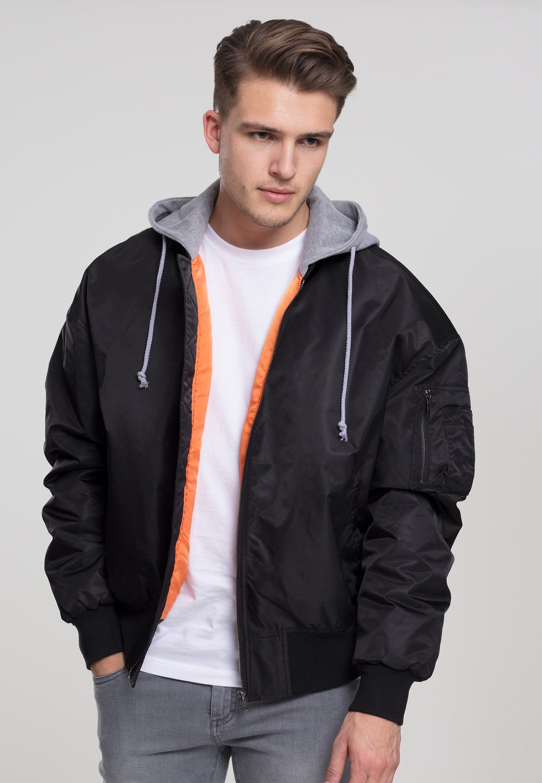 Hooded Oversized Bomber Jacket blk/gry