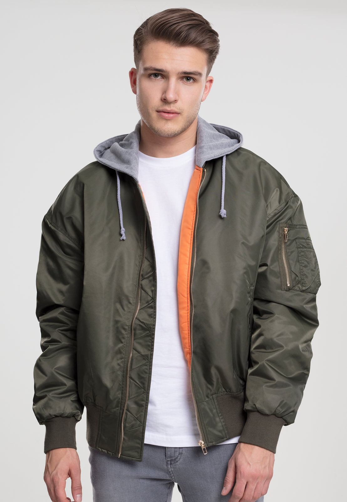 Hooded Oversized Bomber Jacket olv/gry