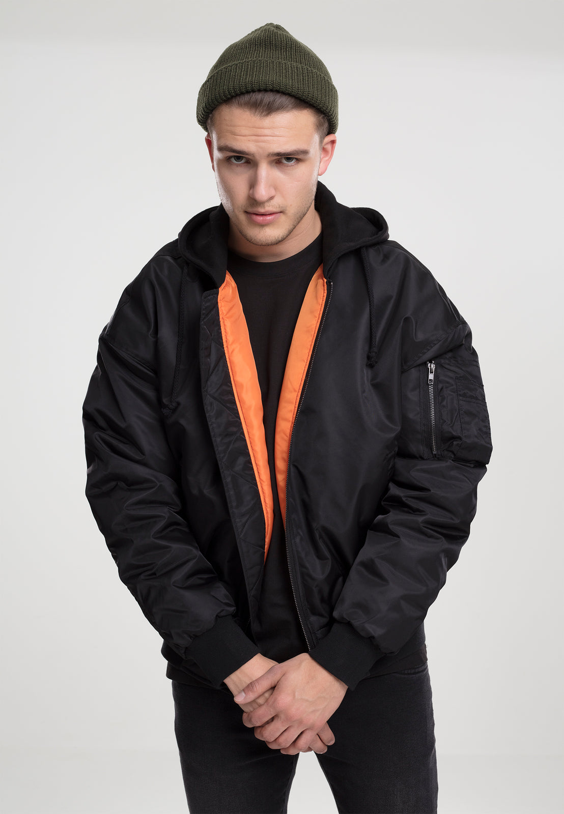 Hooded Oversized Bomber Jacket blk/blk
