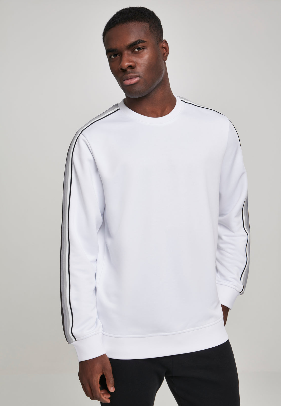 Sleeve Taped Crewneck wht/gry