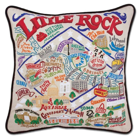 Little Rock Embroidered Pillow
