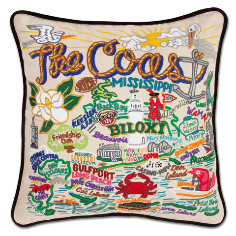Mississippi Coast Hand Embroidered Pillow