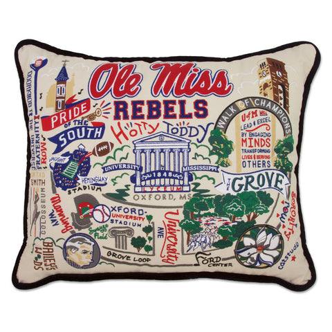Ole Miss Hand Embroidered Pillow