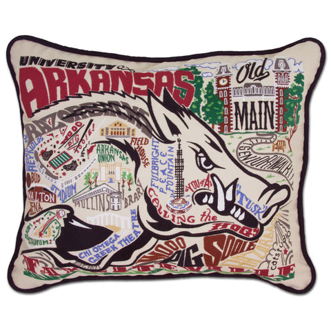 U of Arkansas Hand Embroidered Pillow