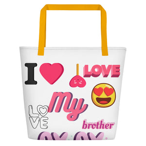 "Z Jennebelle Collection, Angel & Jester, ""I Love My Brother""  Beach Bag"