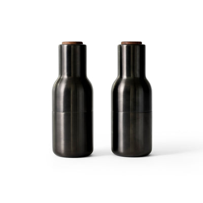 Menu, Bottle Grinder, Brushed Brass W. Walnut Lid, 2-Pack by Norm Architects