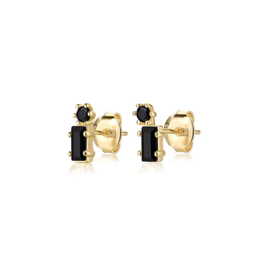 Billy Idol Gemstone Studs Gold Black