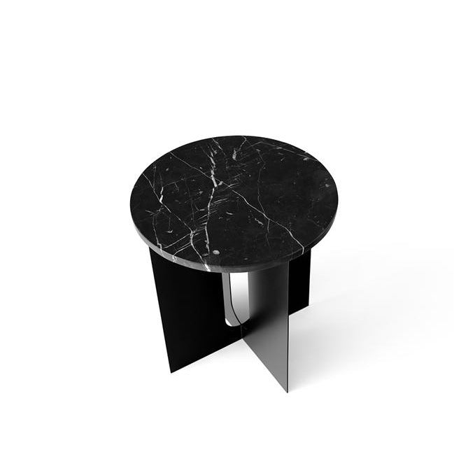 Androgyne Side Table, Marble Top, Black