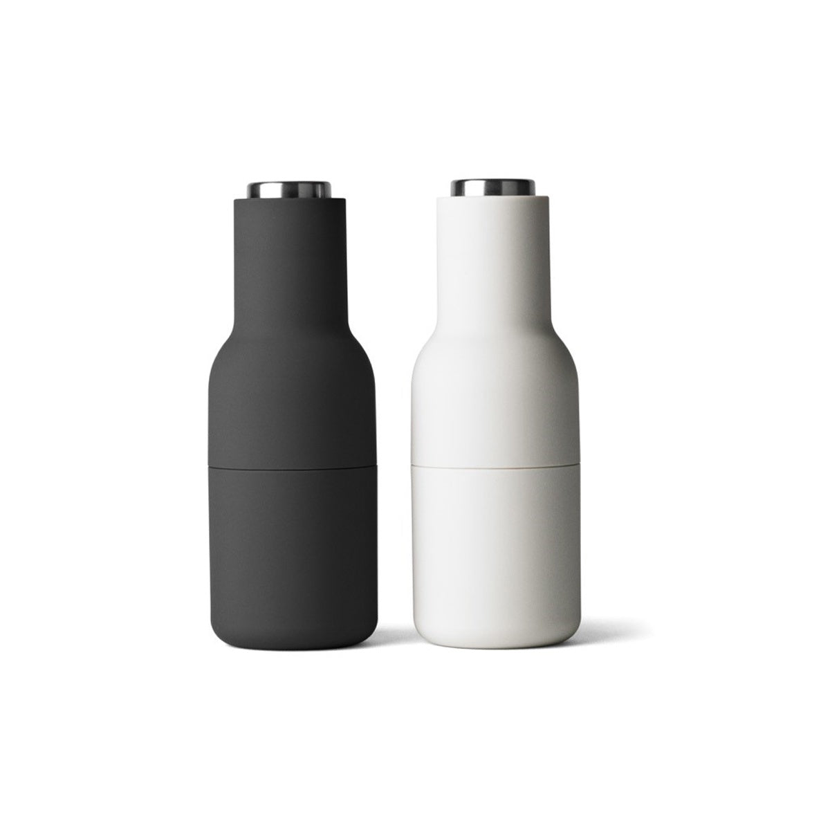 Menu Bottle Grinders Set Ash/Carbon With Steel Top by Norman Architects