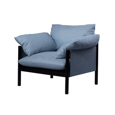 Alila Armchair - Black timber frame/ Blue