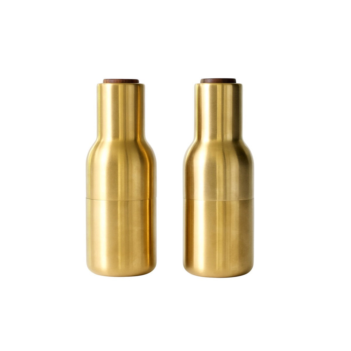 Menu, Bottle Grinder, Brushed Brass Gold W. Walnut Lid, 2-Pack by Norm Architects
