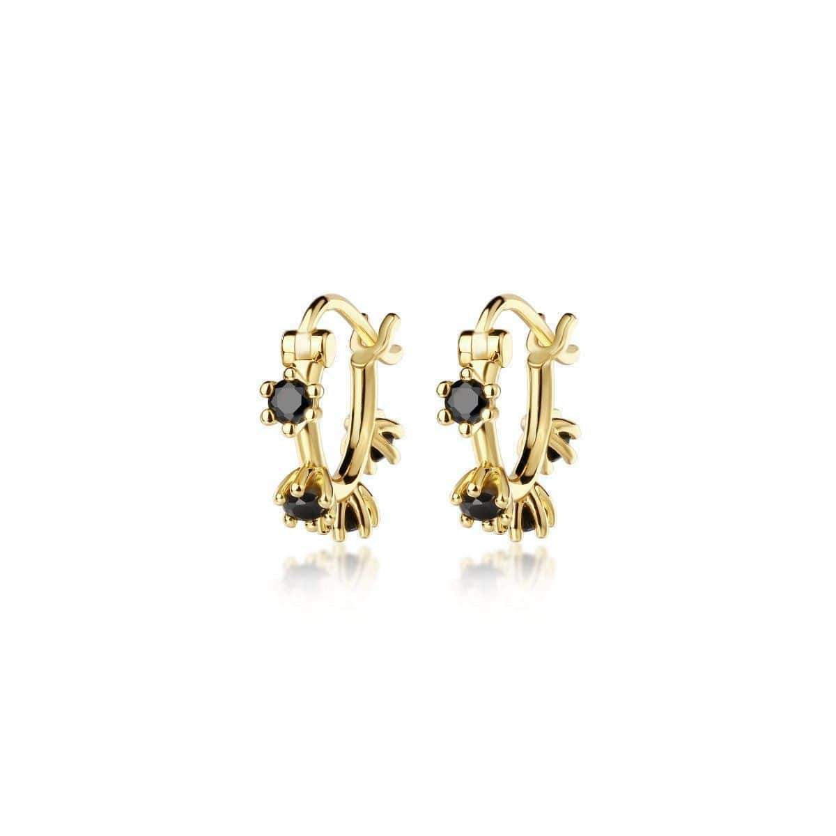 Adele Mini Gemstone Earrings Gold Black Spinel