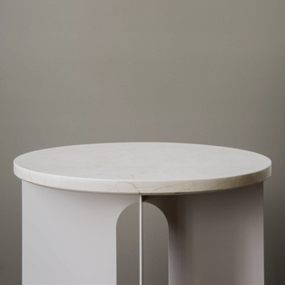 Androgyne Side Table, Steel Base, Ivory