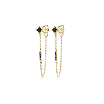 Iggy Long Chain Earrings Gold Black