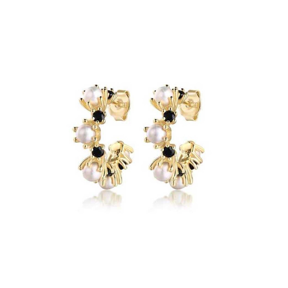 Paris Is Burning Pearl & Black Gemstone Earrings