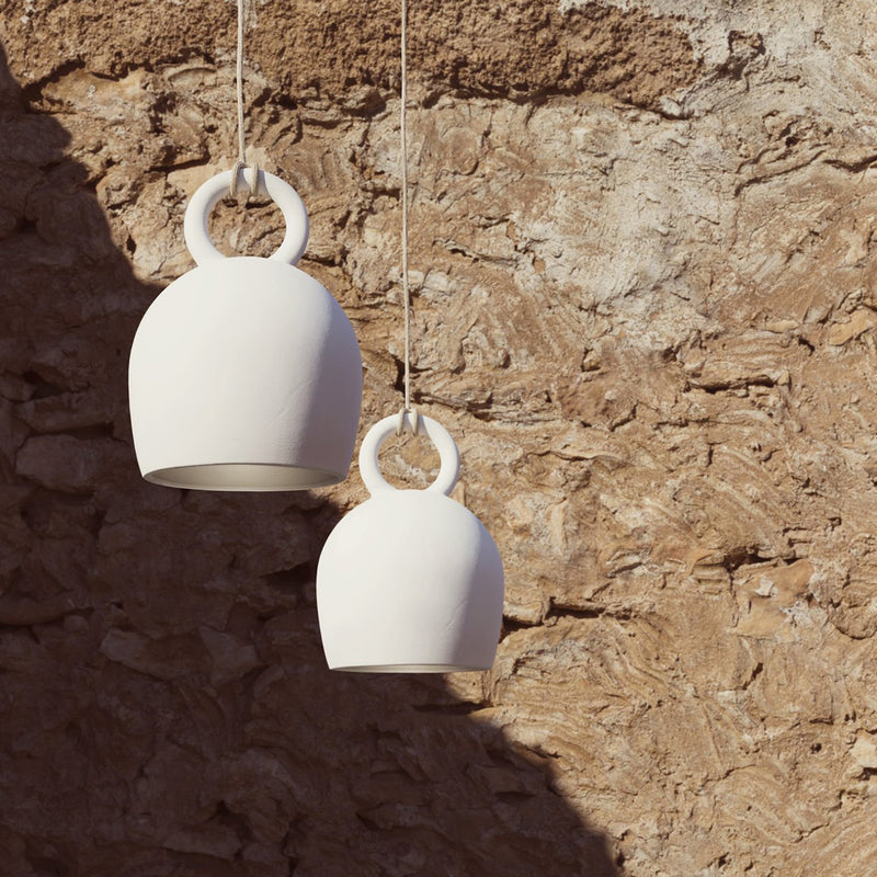 White Calo Large Pendant with Jute Cable