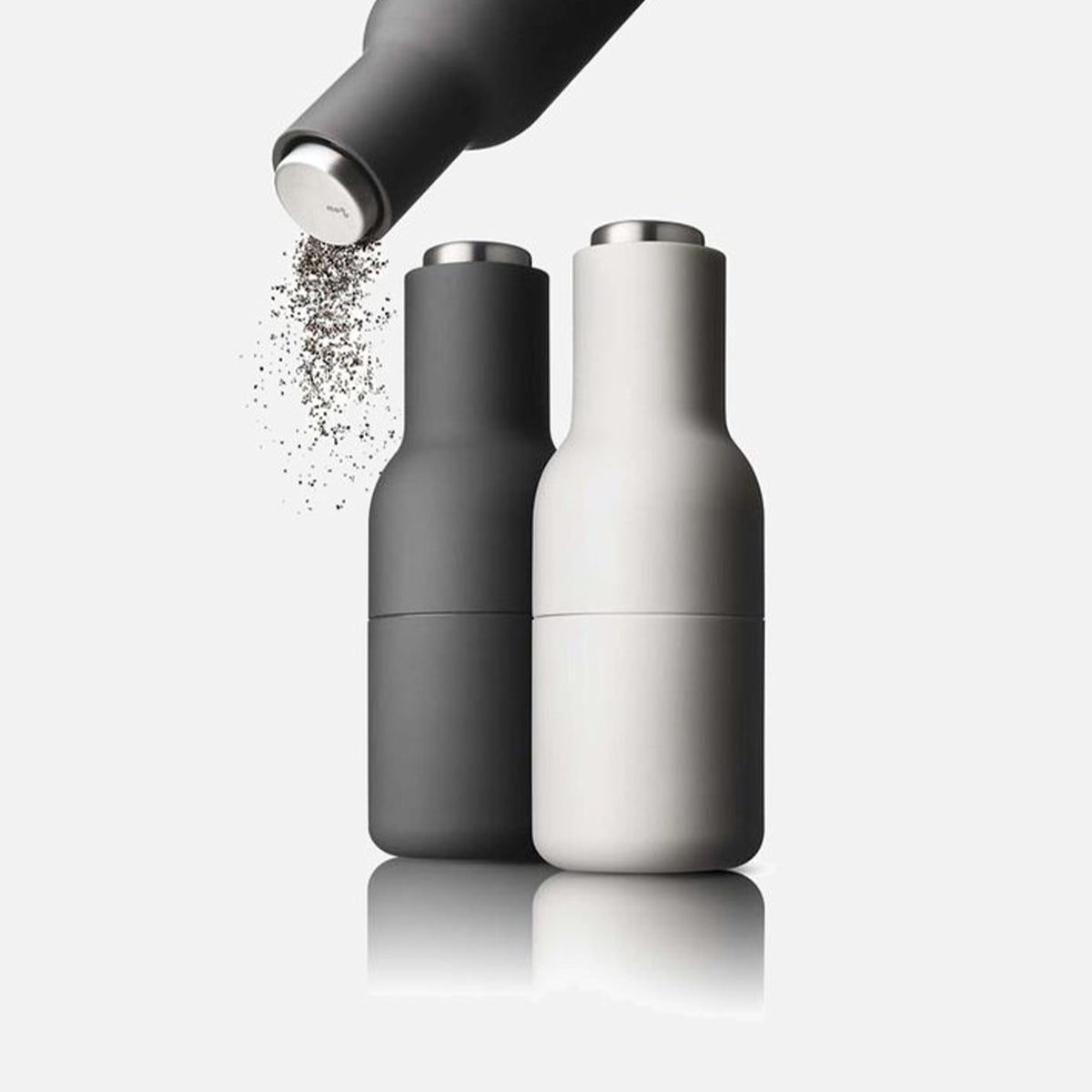 Menu Bottle Grinders Set Ash/Carbon With Steel Top by Norm Architects