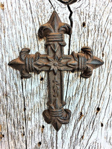 Small Antique Brown/Black Fluer De Lis Craft Cross