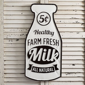 """Farm Fresh Milk"" Metal Sign"