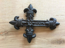 Load image into Gallery viewer, Small Antique Brown/Black Fluer De Lis Craft Cross