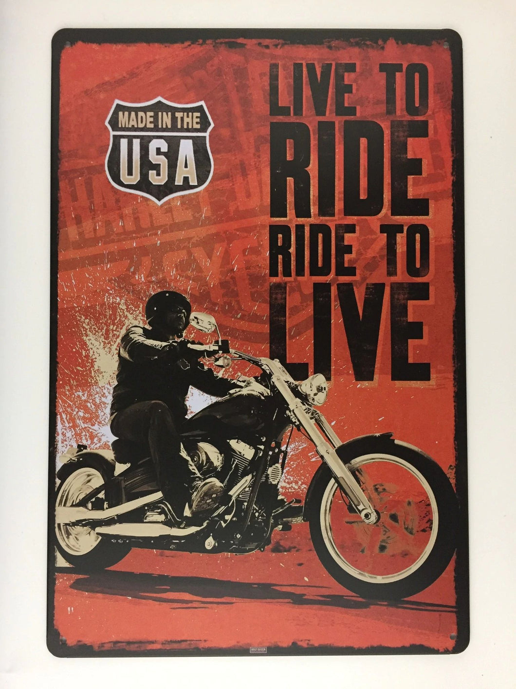 MADE IN THE USA LIVE TO RIDE RIDE TO LIVE tin sign