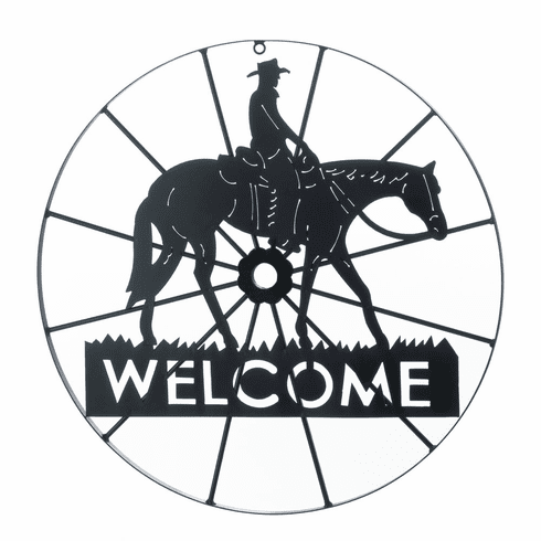Cowboy Wheel Welcome Sign