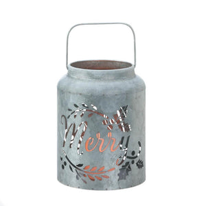 Galvanized Merry LED Candle Lantern