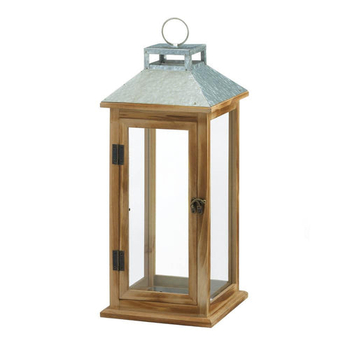Galvanized Metal & Wood Lantern