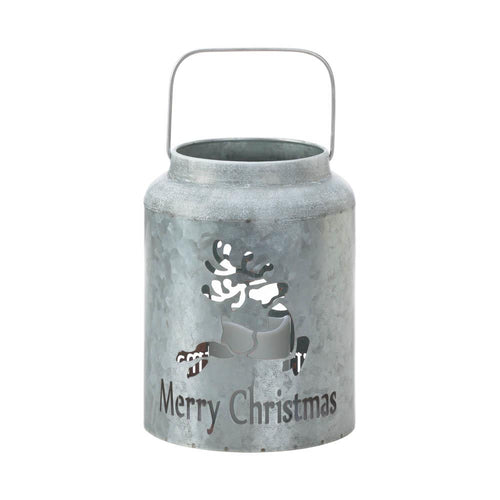 Galvanized Reindeer LED Candle Lantern