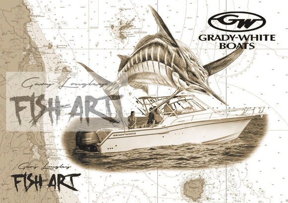 Custom Boat, Fish & Chart