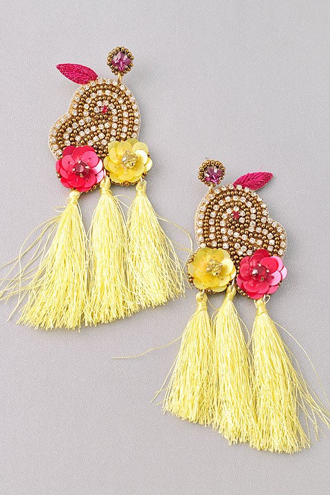 Jeweled Tassel Earrings