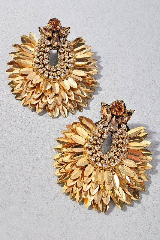 Gold Rhinestone Cluster Earrings