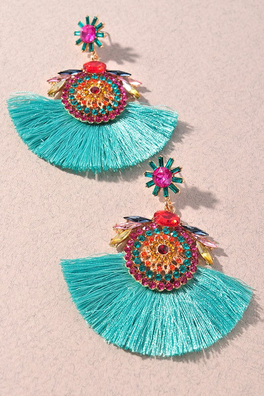 Jeweled Detailed Fringe Earrings