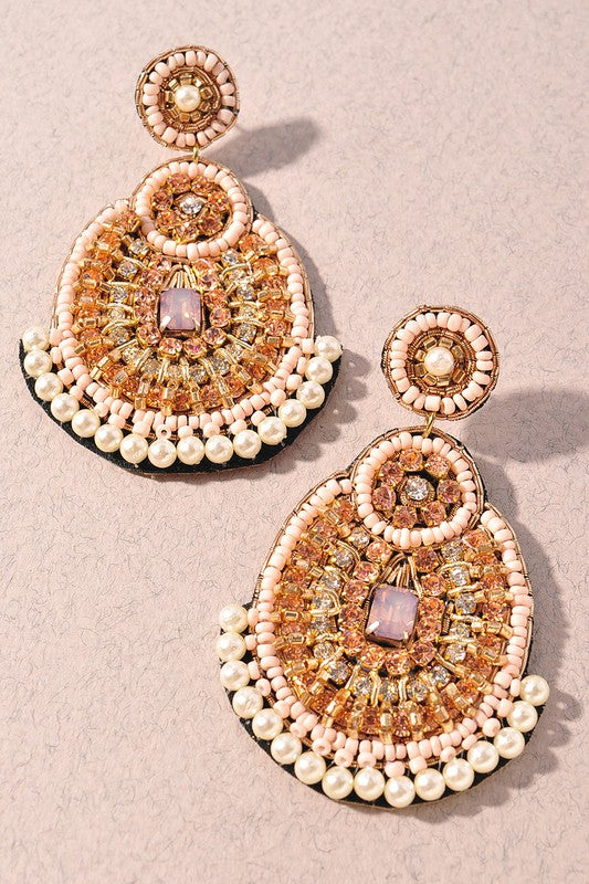 Cream & Gold Detailed Earrings