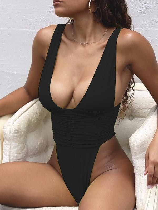 High Cut One Piece Swimsuit - Black