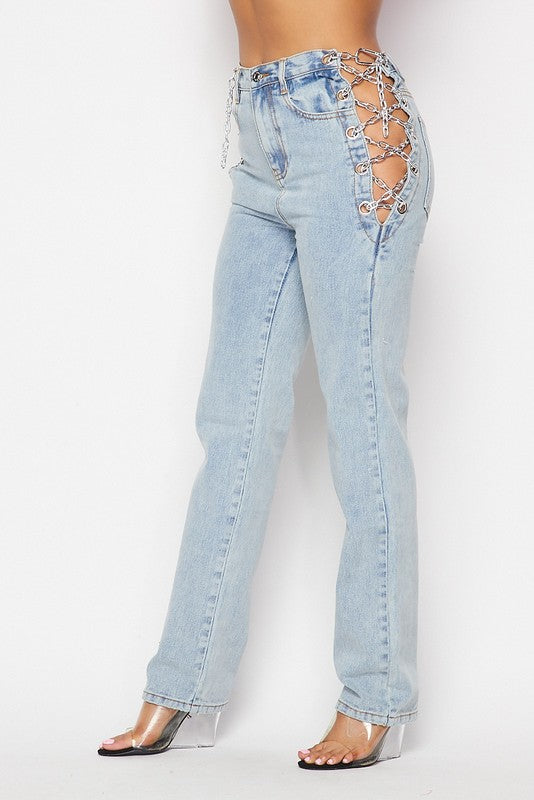 Chained Denim Jeans