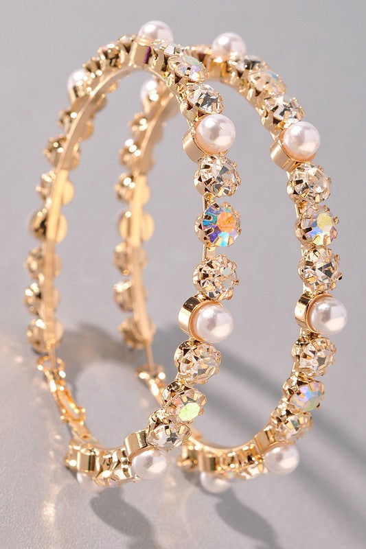 Pearl & Rhinestone Hoop Earrings - Gold