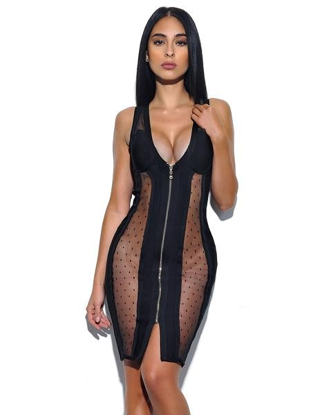 Sheer Cut Out Bandage Dress