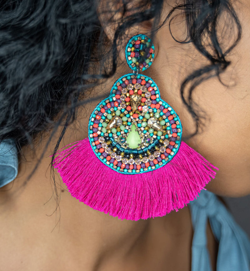 Fringe Earrings - Neon Pink