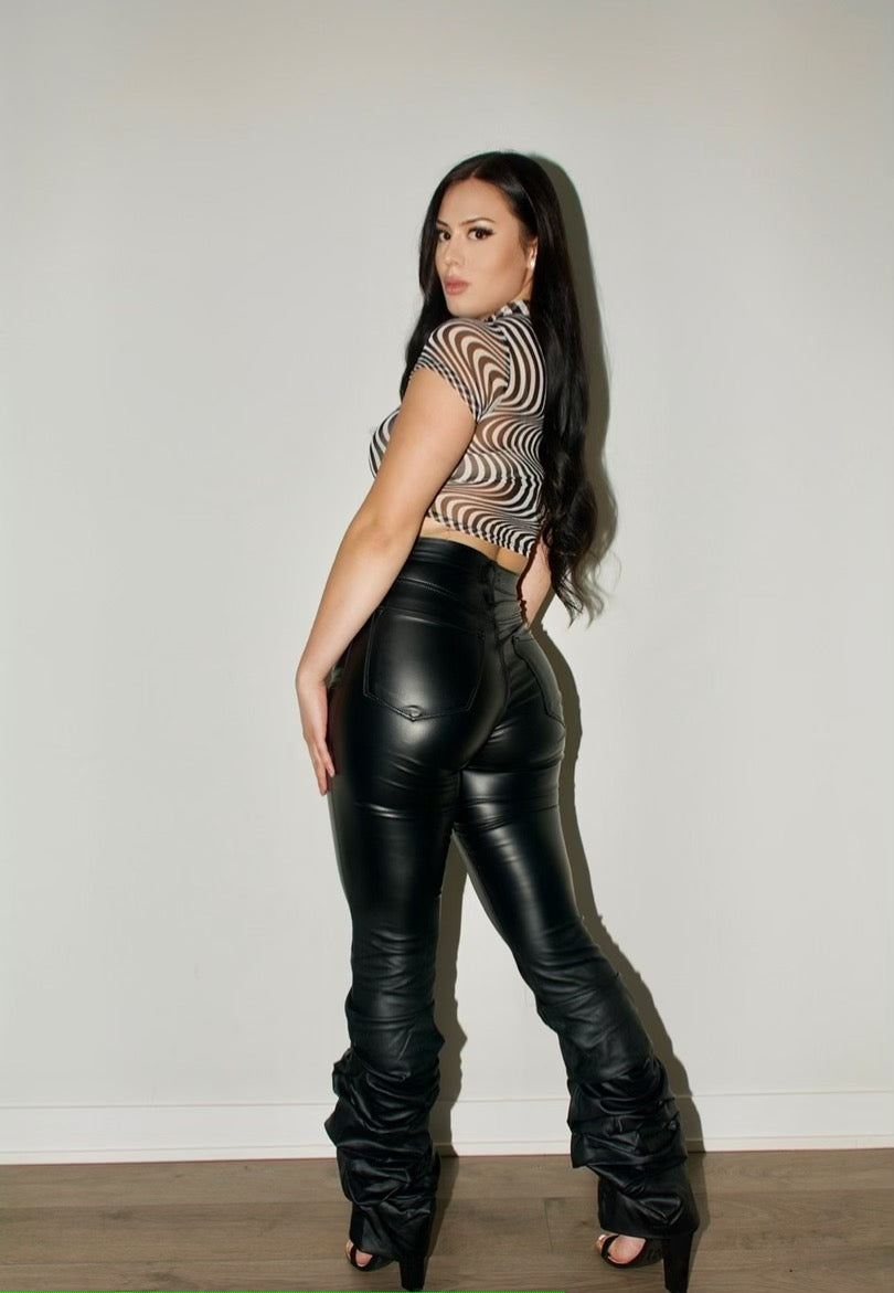 High Waist Leather Ruched Pant