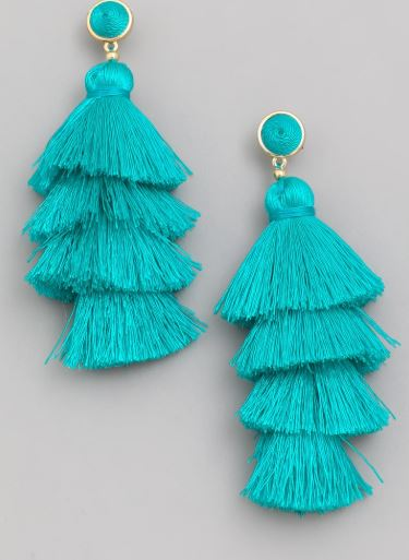 Layered Tassel Earrings - Turquoise