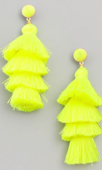 Layered Tassel Earrings - Neon Yellow