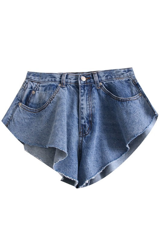 Denim Ruffle Shorts