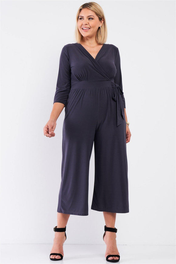 Plus Dark Grey Plunging V-neck Midi Sleeve Self-tie Waist Detail Wide Leg Midi Jumpsuit - Sassy Shelby's